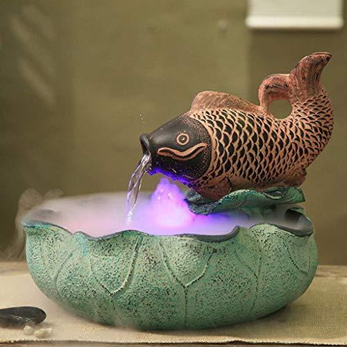 Cakunmik Kreative Wasser Ornamente Brunnen, Fischtank Zerstäubungsbefeuchter Harz Umweltschutz Home Zubehör Veranda Wohnzimmer Dekoration Büro Desktop
