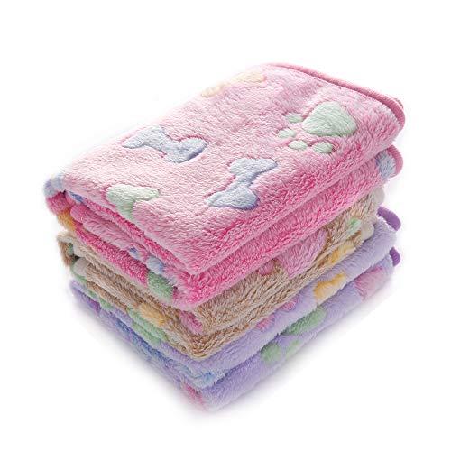 1 Pack 3 Decken Super Weich Fluffy Premium Fleece Haustier Decke Flanell Wurf für Hund Welpen Katze Knochen,Large (104 * 78cm)