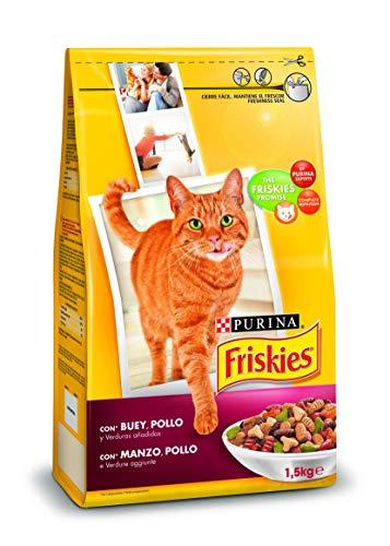 Purina Friskies Pienso para Gato Adulto Buey, Pollo y Verduras 6 x 1,5 Kg 🔥