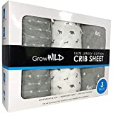 Premium Crib Sheets 3 Pack | Jersey Cotton Fitted Sheets for Boy or Girl | Standard Baby or Toddler Bed Mattress | Grey Arrows, Animals, Trees