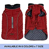 FOREYY Reflective Dog Coats with Leash Harness Attachment Hole, Winter Vest Jackets for Small Medium Large Dogs Windproof Snowsuit Cold Weather Pet Apparel Clothes Sweaters(Red,M)