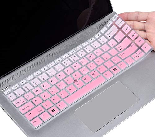 """Keyboard Cover Compatible HP Elitebook 840 G5, 840 G6 14 inch/HP Elitebook 745 G5, 745 G6 14 inch/HP Zbook 14U G5 G6 14"""" Laptop, HP Elitebook Keyboard Protector Skin, Ombre Pink"""