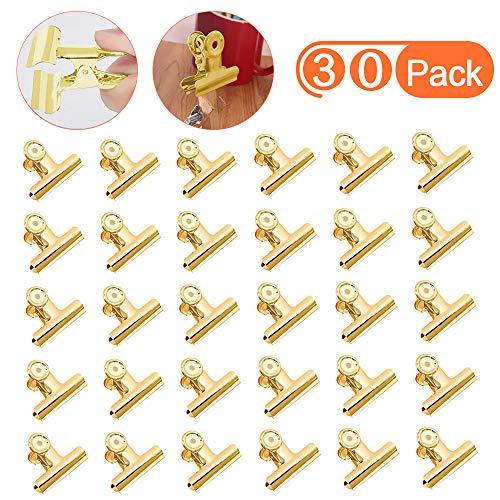 Pak van 30 Bulldog Clips - Goud Papier Clips, Mini Metalen Binder Clips, Kleine Scharnier Clips voor Afbeeldingen Foto's, Voedsel Snack Koffie Zakken, Home Keuken, Kantoorbenodigdheden(22mm)
