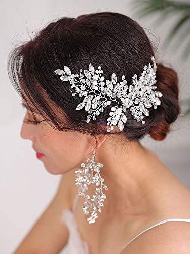 weichuang Juego de joyas para peinados de boda, tocado de plata con diamantes de imitación, diadema y pendientes de cristal, accesorios para el pelo de novia (color: plata)