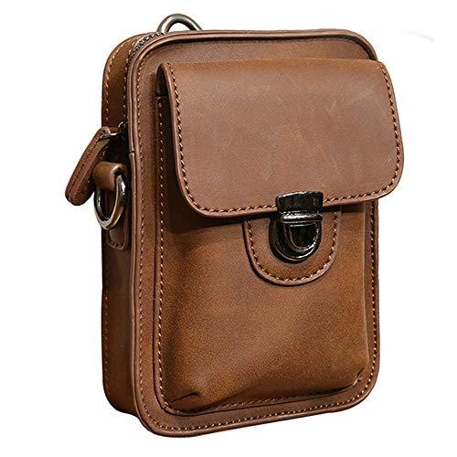 Black Sale Friday Deals Mens Waist Bag Fanny Pack Crossbody Shoulder Messenger Bag Leather Cell Phone Cigarette Belt Case Holster Pouch Travel Pocket Purse Wallet for iPhone 11 Pro 6 7 8 Plus