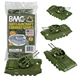 BMC Classic Payton Anti-Aircraft Tanks - 4pc OD Green Plastic Army Men Vehicles