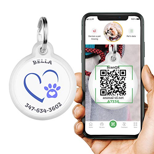 ROVERTAGS Tags for Dogs - Engraved Dog & Cat Tag - GPS Pet Id Tag - Scannable QR Code Pet Tags for Location - Cats & Dog Id Tags Personalized with Online Profile - Funny Dog Tags