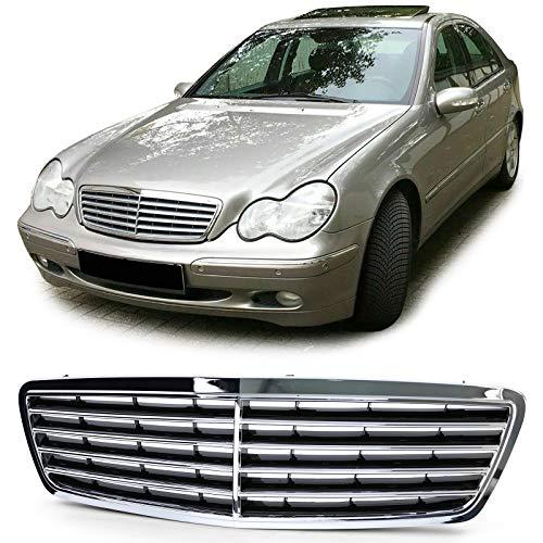 Parrilla central de capot delantero tipo Avantgarde cromada y negra (ver modelos de vehículos compatibles en la descripción) Rejilla calandra frontal