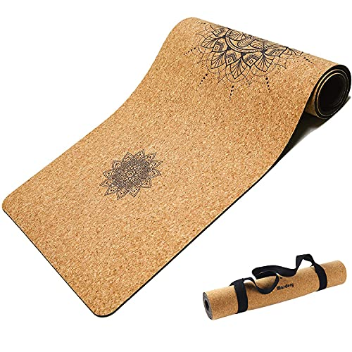 "MASDERY Cork Yoga Mat Non Slip Naturel Rubber 72""x 24"" Body Line High Elasticity 4mm Thick Yoga Mat Upgraded Wear Resistant with Strap Eco Friendly Floor Exercises Portable Hot Yoga Pilates"