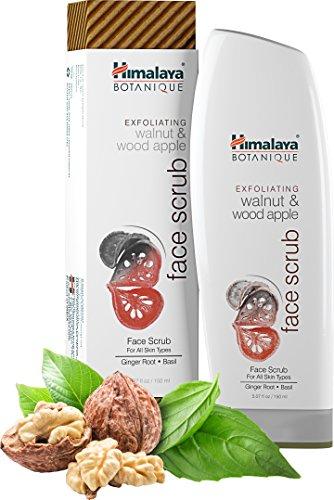 Himalaya Botanique Exfoliating Walnut & Wood Apple Face Scrub, 5.07oz/150ml - Exfoliant visage et nettoyant pour les pores au gingembre et basilic pour tous types de peau (Exfoliating Walnut & Wood Apple Face Scrub 5.02 fl)