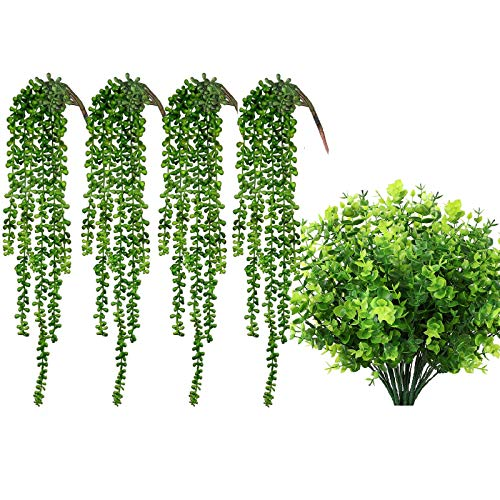 CEWOR 8pcs Artificial Greenery Plants Fake Plastic Boxwood Shrubs Stems and 4pcs Artificial Succulents Hanging Plants Fake String of Pearls for Home Room Garden Wedding Indoor Outdoor Decoration