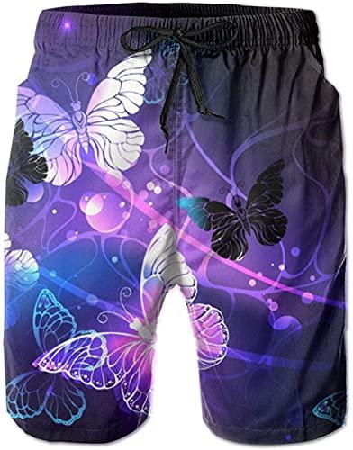 Shorts De Playa Transpirables para Hombre Bañador Shorts Glowing Night Butterfly De Secado Rápido Adecuado para Surf De Verano Y Junto A La Piscina M