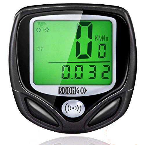 SOON GO Bike Speedometer, Bicycle Speedometer Wireless Cycle Bike Computer Waterproof Bike Odometer with LCD Display Speedometer Accurate Speed Tracking & Multi-Function