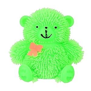 9cm de décompression poupée Ours en peluche, Mamum 9cm fantaisie clignotant Puffer Ours très mignon protection Sensorielle jouet d'activité et balle