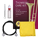 Libretto Trombone ALL-INCLUSIVE Care Kit: Flexible Bore Brush + Mouthpiece Brush + Slide Oil+ Microfiber Cleaning Cloth, w/Giftable Handy Case, Time to Clean & Extend Life of your Trombone!