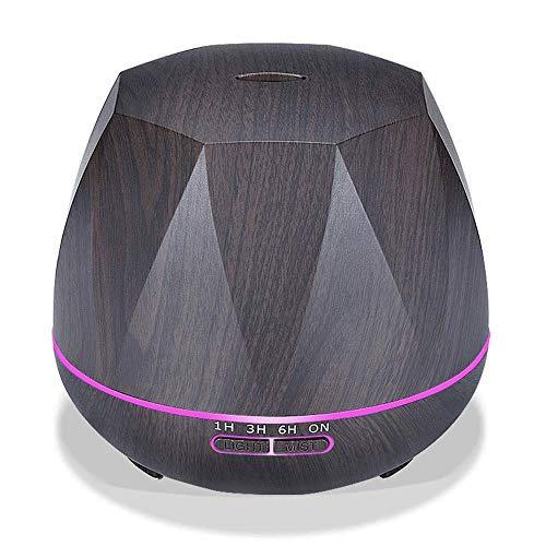 TTEWS creatieve houtnerf luchtbevochtiger huishouden met grote capaciteit 500 ml Silent aromatherapie machine met kleuren-licht wisselen.