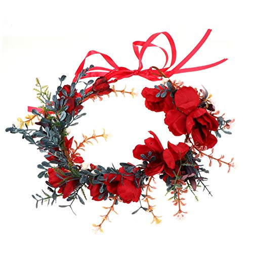Beaupretty Christmas Flower Headband Holiday Flower Wreath Crown Adjustable Head Wreath Christmas Wreath Halo Bridal Garland Headband for Women Girls