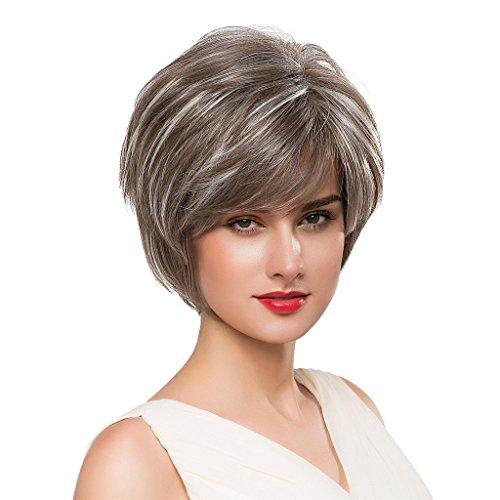 Sharplace Perruque Femme De Cheveux Synthétiques Style Courte Droite Frange Cheveaux Cosplay Fête Costume Carnavale - Mélange d'Argent Marron