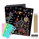 Fogli di Disegni Scratch Art,BESTZY 50 Fogli Arcobaleno da Grattare, Set Artistico,Colorato da Scarabocchiare con 4 Modelli di Disegno su Righelli Forati con Stampe e 5 Puntine in Legno per Disegnare