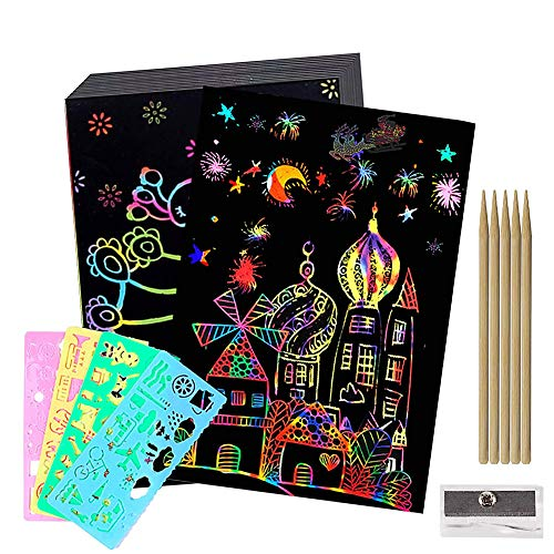 BESTZY Scratch Art, 50 Hojas Dibujo Scratch Láminas para Rascar Creativas Papel para Dibujar, Manualidades, Escribir Listas, Incluye 4 Plantillas de Plantillas de Dibujo y 5 lápices de Madera