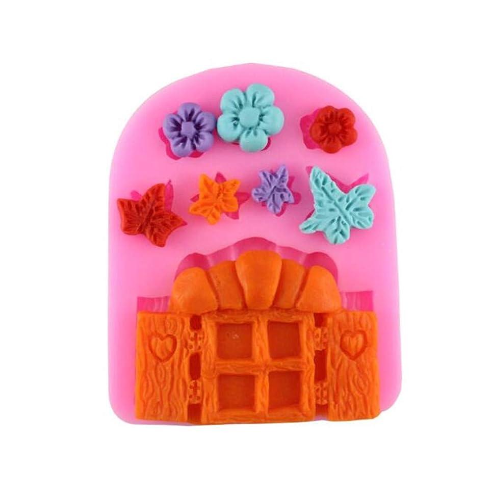 通り抜ける努力疑い者Underleaf ピンク妖精姫キャッスルハウスドアケーキ型つる花シリコーン型キッチンツール