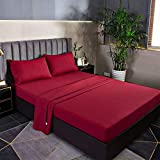 YANBING Twin Bed Sheets Set 4 Piece, Bed Sheet Set 1800 Brushed Soft Microfiber, 16 Inch Extra Deep Pocket, Wrinkle & Fade Resistant, Breathable, Hypoallergenic (Twin, Wine Red)