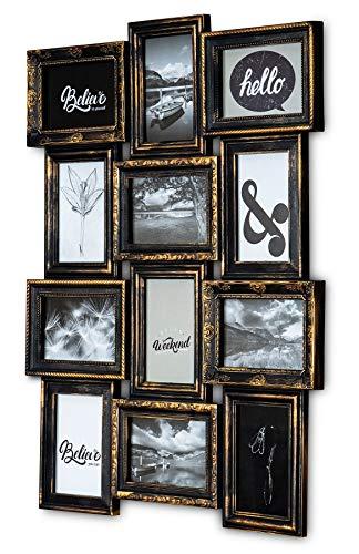 levandeo Bilderrahmen Schwarz Kupfer 12 Fotos 10x15cm Barock Fotorahmen Collage Galerie Antk Industrial Wanddeko