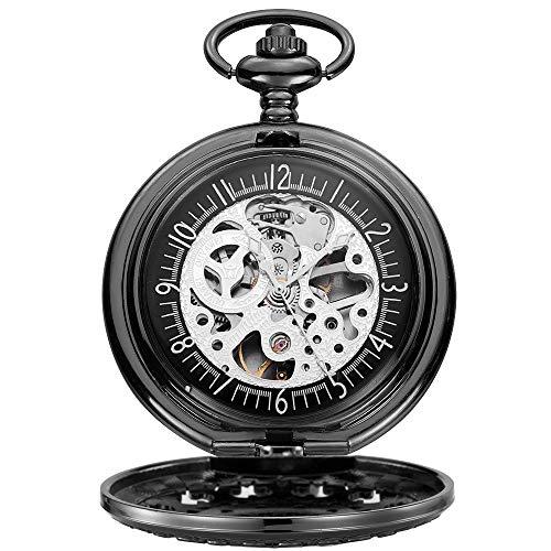 Lwieui Reloj de Bolsillo Reloj de Bolsillo mecánico con Cadena Hueca for Hombre y Cadena Manual for el Día del Padre (Color : Black Shell Black Surface)