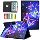 UUcovers Kindle Fire HD 10 Tablet 10.1 Inch Case 9th/7th/5th Generation (2019/2017/2015), Folio Stand Smart PU Leather TPU Cover Magnetic Wallet with Cards Holder [Auto Wake/Sleep], Purple Buttefly