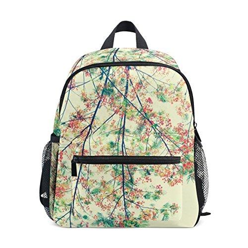 TIZORAX Rucksack mit Retro-Blume, leicht, für Reisen, Schule, für Jungen und Mädchen
