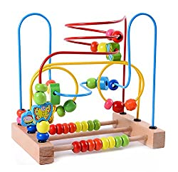 small Lewo Wooden Toddler Toy Circle First Beaded Maze for Boys and Girls