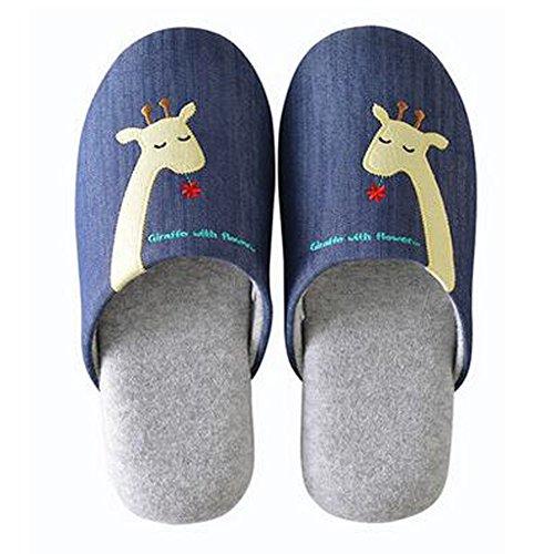 Famille d'hiver et chaleureux Chaussures Indoor Couples Maison Cartoon Slipper, D