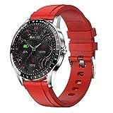 QFSLR Smartwatch, Reloj Inteligente con Pulsómetro, Monitoreo De Oxígeno En Sangre Monitor De Presión Arterial, Podómetro Pulsera Actividad Inteligente Impermeable IP68 Smartwatch,Rojo