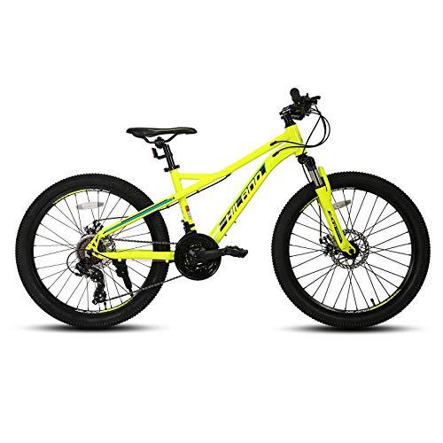 Hiland Mountain bike da 24/26/27,5 pollici, 21 marce, per ragazzi, mountain bike, con forcella ammortizzata, Urban Commuter City, colore giallo