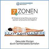 RAVENSBERGER STRUKTURA-MED® 60 | 7-Zonen-HR-Premium-Kaltschaummatratze | H3 RG 60 (80-120 kg) | Made IN Germany - 10 Jahre Garantie | Baumwoll-Doppeltuch-Bezug | 90 x 200 cm - 7