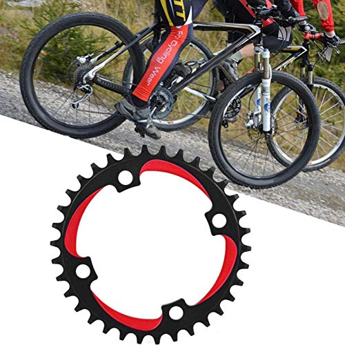 FOLOSAFENAR 34T 104Bcd Bike Chainring Ultra Light Strong Compatibility Strong Axial Strength, for Most Of 34T Single Speed Mountain Bikes(Black red)
