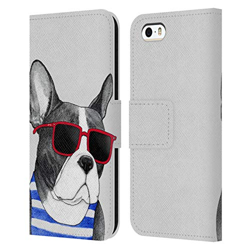 Head Case Designs Officially Licensed Barruf Frenchie Summer Style Dogs Leather Book Wallet Case Cover Compatible with Apple iPhone 5 / iPhone 5s / iPhone SE 2016