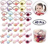 mciskin - 40 corbatas elásticas para el pelo de bebés y niñas, con pinzas para el pelo, cinta elástica para el pelo y clips para el pelo