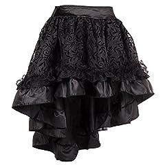 Bslingerie® Ladies Gothic Steampunk Asymmetrical Lace Short Skirt Plus Size (Black, L) #1