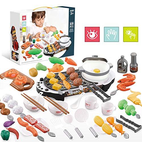 69 PCS Barbacoa Grill Juego de juguetes, accesorios de cocina de juguete de barbacoa, niños fingir cocinar a la parrilla Juguetes de juego con voz de humo ligero Play de rol interiores y exteriores