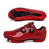 Zapatillas De Bicicleta Zapatillas De Ciclismo Hombres Y Mujeres Bicicleta De Carretera Zapatillas Eléctricas El Ciclismo De Montaña Tiene Buena Transpirabilidad (36,Rojo/Montaña)