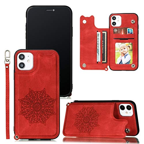 Dmtrab para Mandala en Relieve en Relieve PU + TPU Caso con Soporte y Ranuras para Tarjetas y Marco de Fotos y Correa de Mano para iPhone 11 Pro (Color : Red)