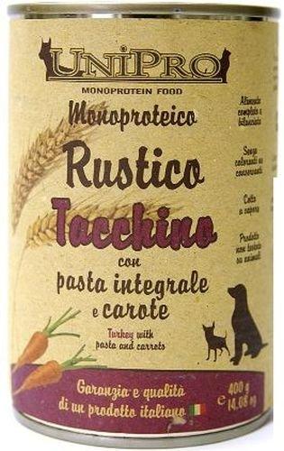 Uniporo Rustico Cane Adulto, Monoproteico Tacchino Pasta e Carote Gr.400