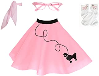 1950s Poodle Skirt with Scarf, Bobby Socks, and Glasses, Children's Costume