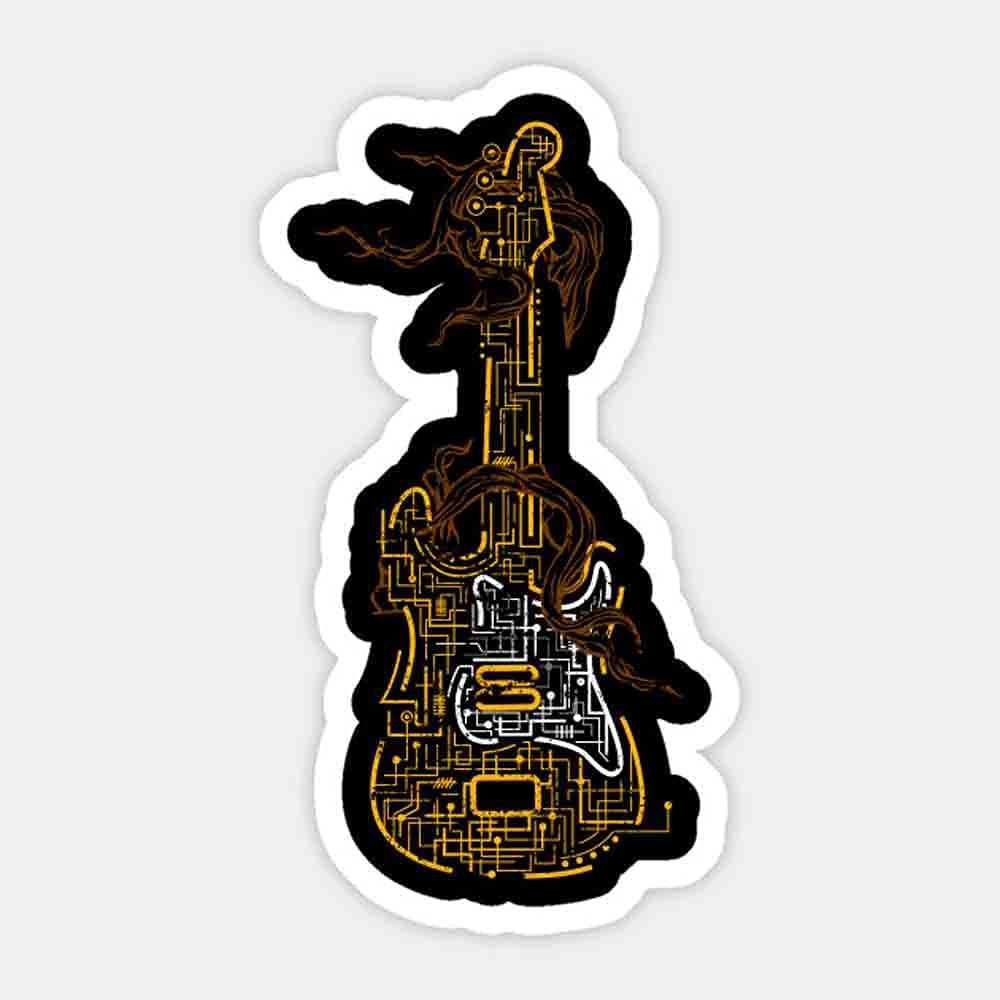 Musical Instrument Animer and price revision Guitarist Cool Electric safety - Guitar Funn Sticker
