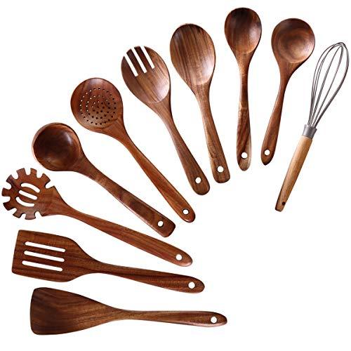 Wooden Utensils for Cooking,NAYAHOSE 10 PCS Teak Wooden Cooking Spoons and Spatula for Cooking including Spoon Ladle Fork (10)