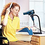 Hands-Free Hairdryer Stand (Eligible for VAT relief in the UK), One-Handed Styling and Drying Hair, Ideal for Limited Range of Motion, Strength and Coordination, Features Foam Padded Clamp -