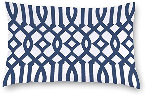 Aafndgsa Modern White and Navy Blue Imperial Trellis Rectangle Cushion Covers 40 x 60 Cotton Throw Pillow Covers Pillow Cases for Sofa