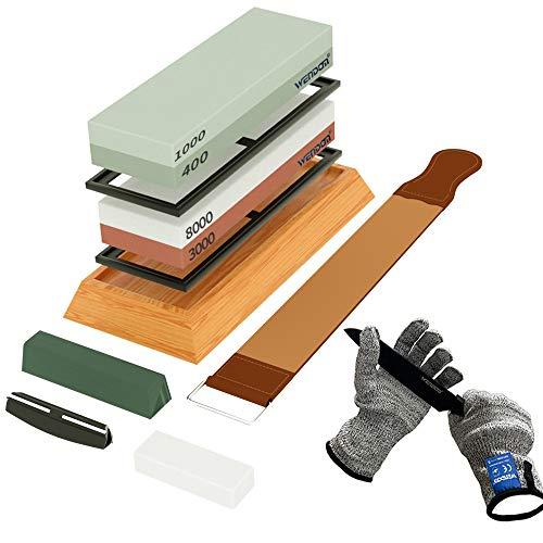 Knife Sharpening Stone Kit WENDOM Complete Whetstone Knife Sharpener...
