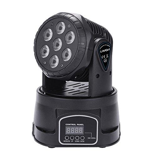 Lixada 7LED Teste Mobili 150W RGBW 9/14 Canali DMX512 Mini Rotante a Testa Mobile Fase Lampada Effetto Luce per Interno Discoteca KTV